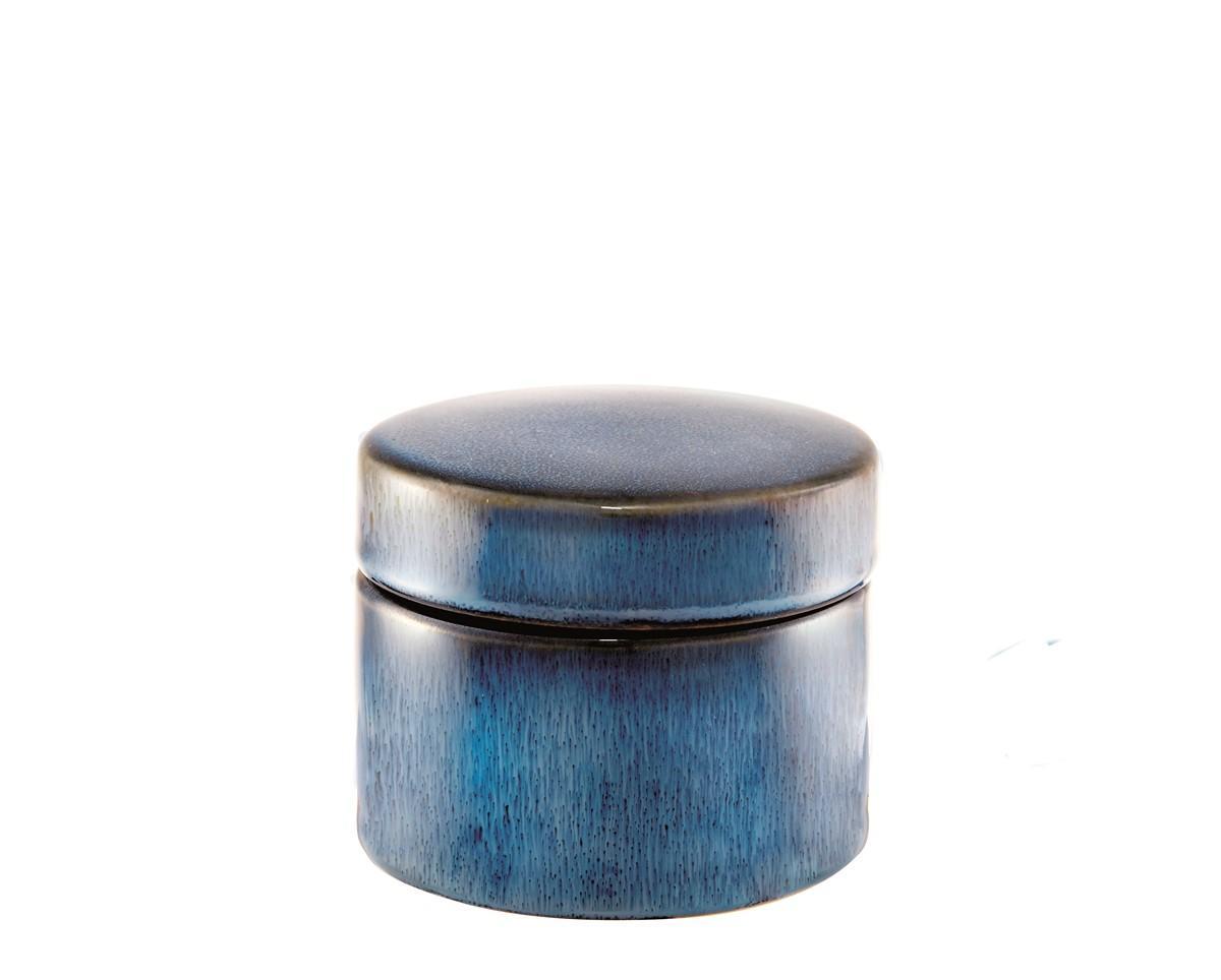 Caixa Redonda em Cerâmica Azul