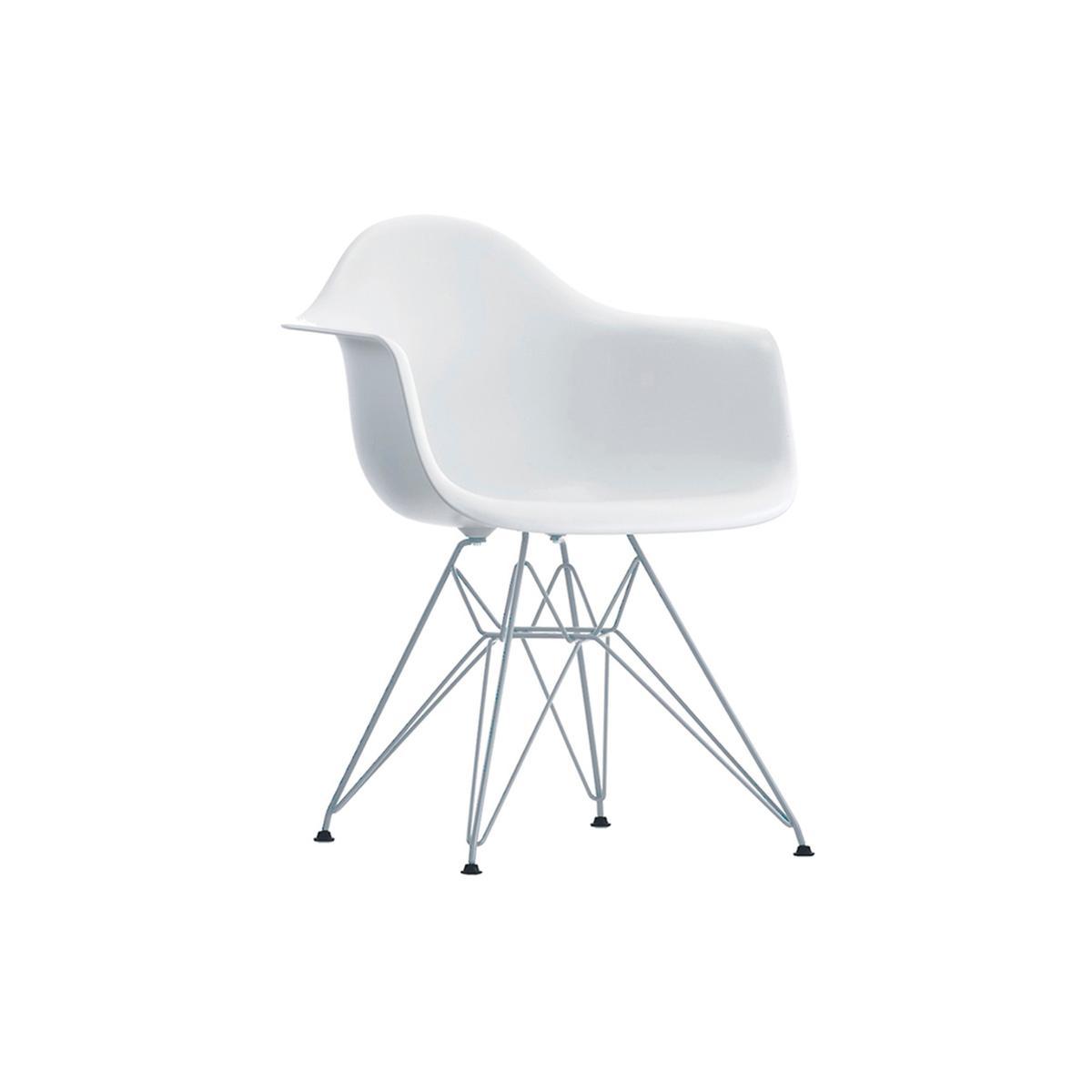 Cadeira Eiffel Com Braço Base Cromada Branca