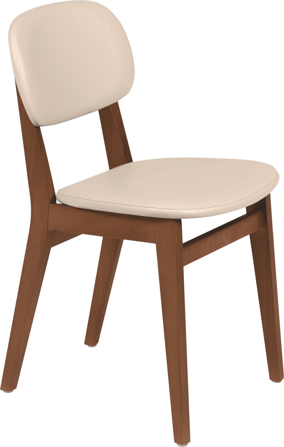 Cadeira London Amendoa Estofado Bege