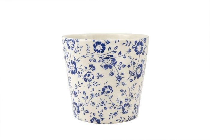 Cachepot De Ceramica Branco E Azul