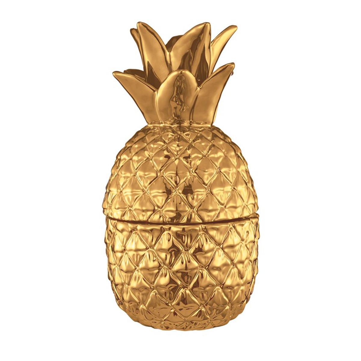 Abacaxi Decorativo em Cerâmica Dourado