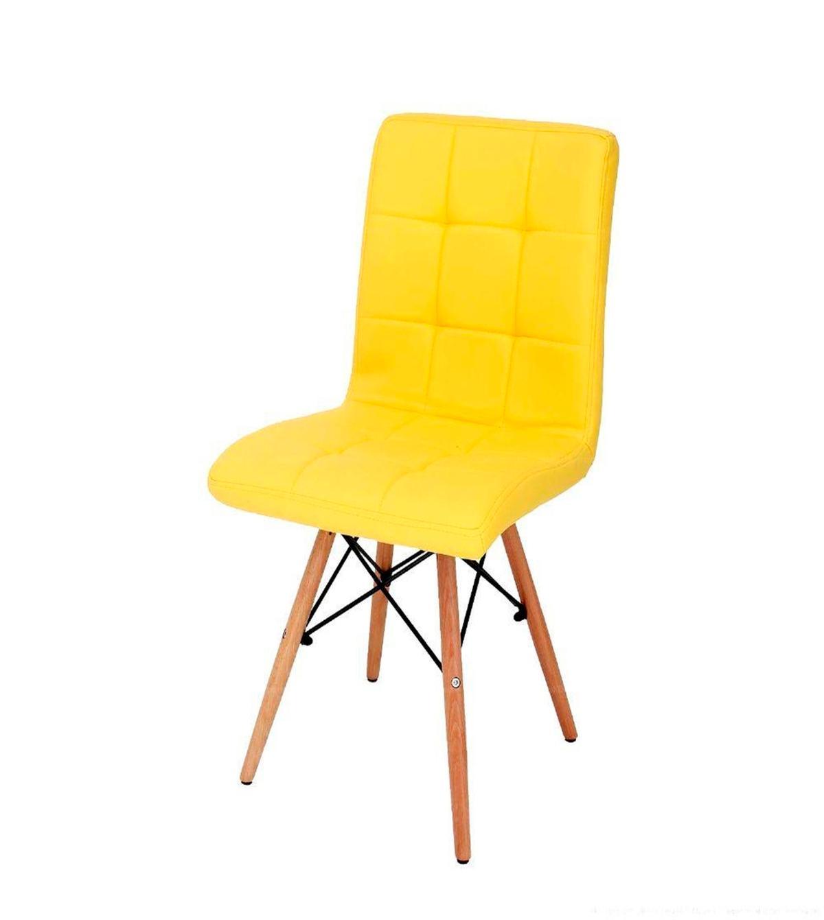 Cadeira Gomos Base Madeira Amarela