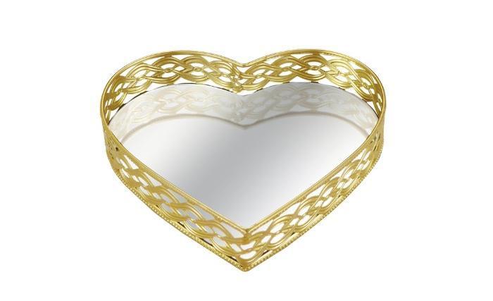 Bandeja De Metal Com Espelho Em Dourado