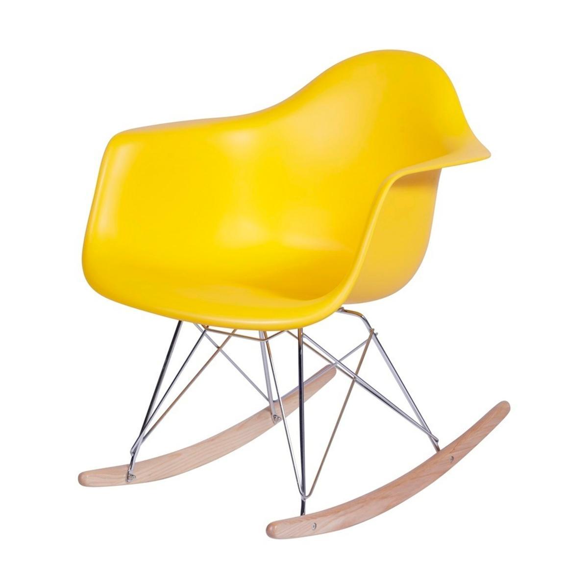 Cadeira Eiffel Com Braço Base Balanço Amarela