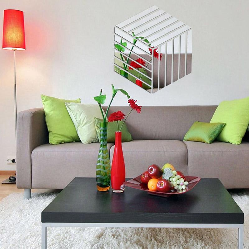 Acrílico Decorativo Espelho Cubo 3D