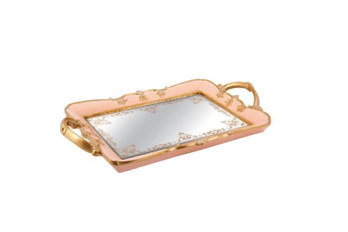 Bandeja Rosa Em Poliresina Com Espelho 35x22Cm