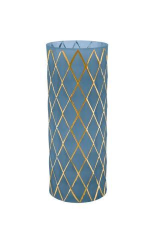Vaso De Vidro Em Azul E Dourado