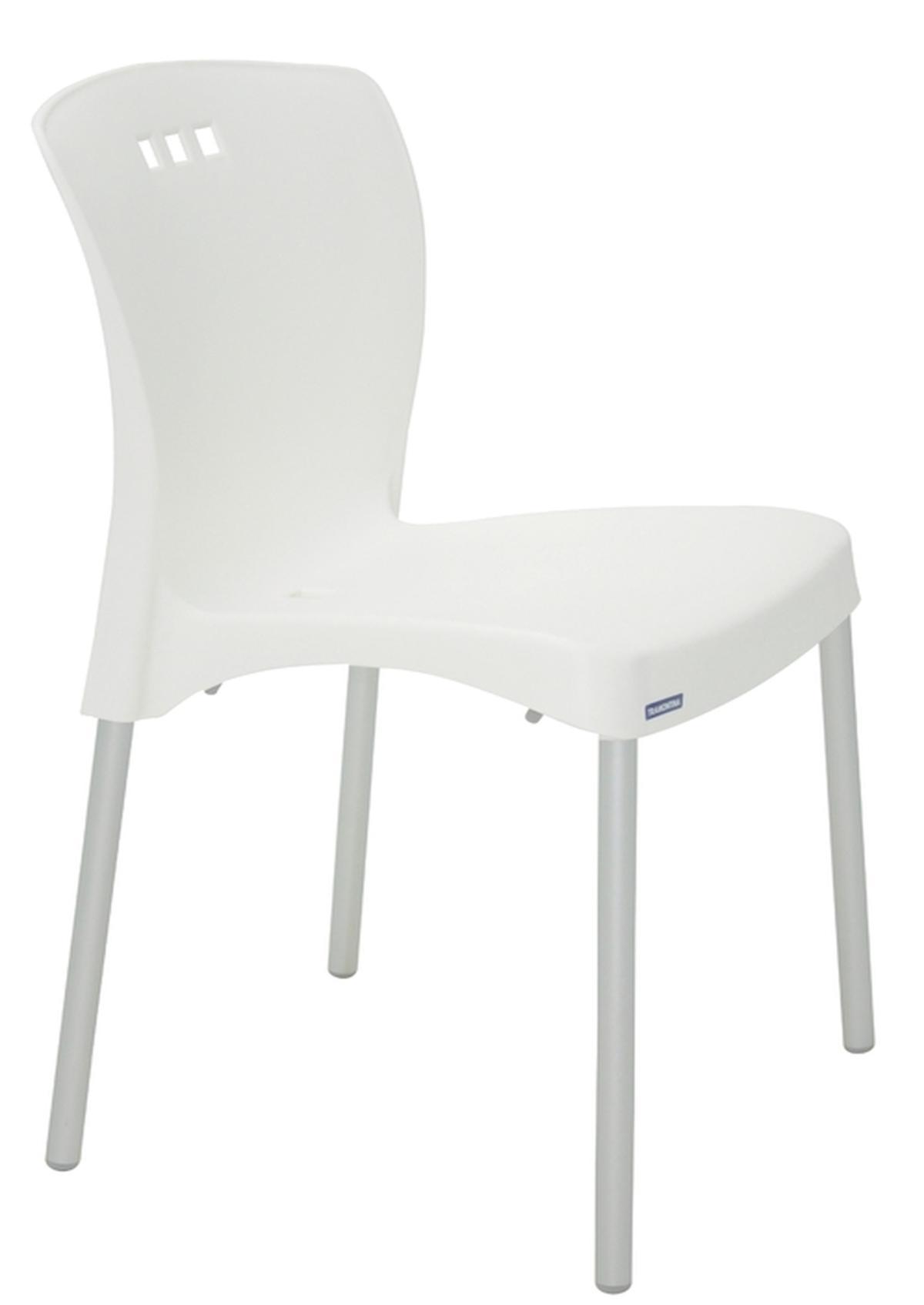 Cadeira Mona Branca Pernas Anodizadas