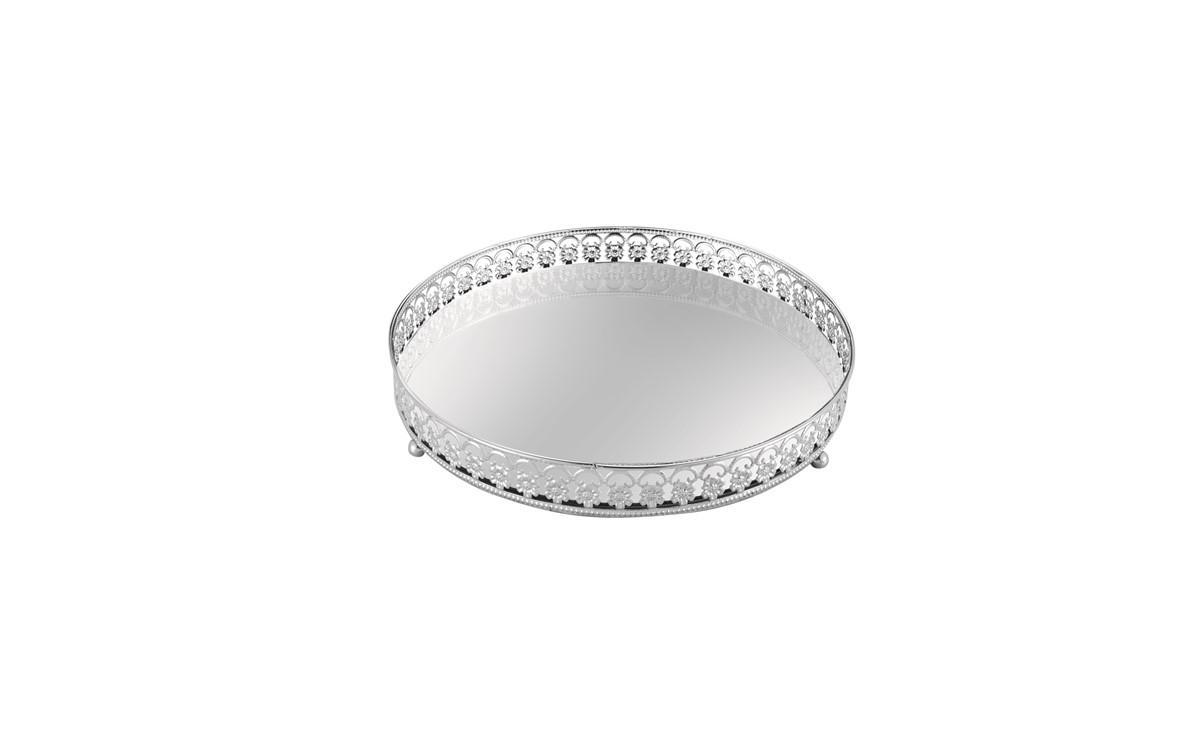 Bandeja em Metal Prata com Espelho