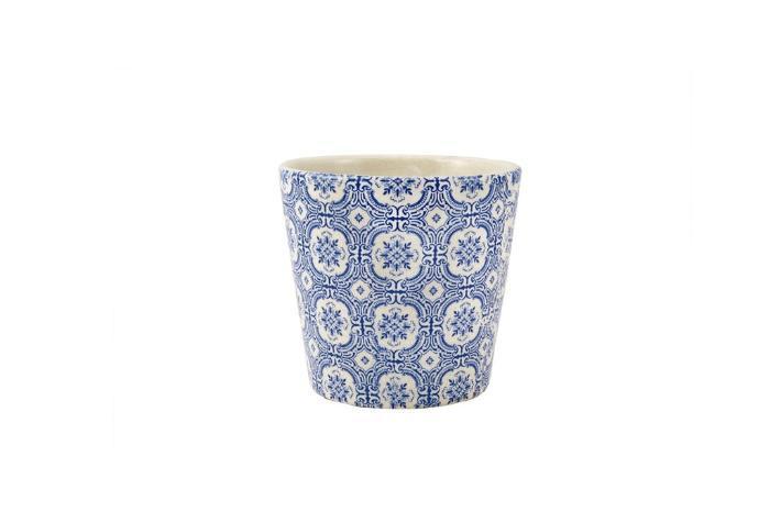 Cachepot Para Decoração De Ceramica Branco E Azul