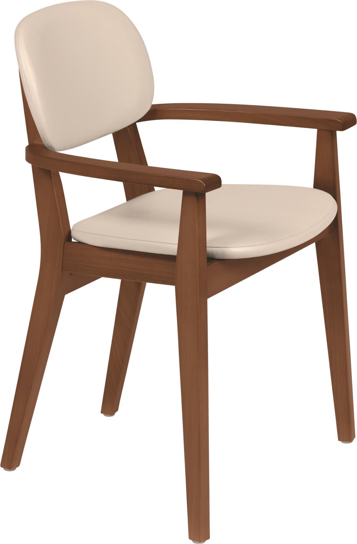 Cadeira Com Braço London Amendoa Estofado Bege