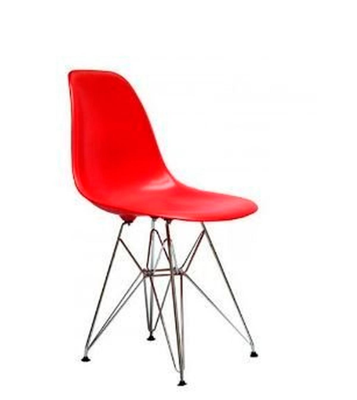 Cadeira Eiffel Base Cromada Vermelha