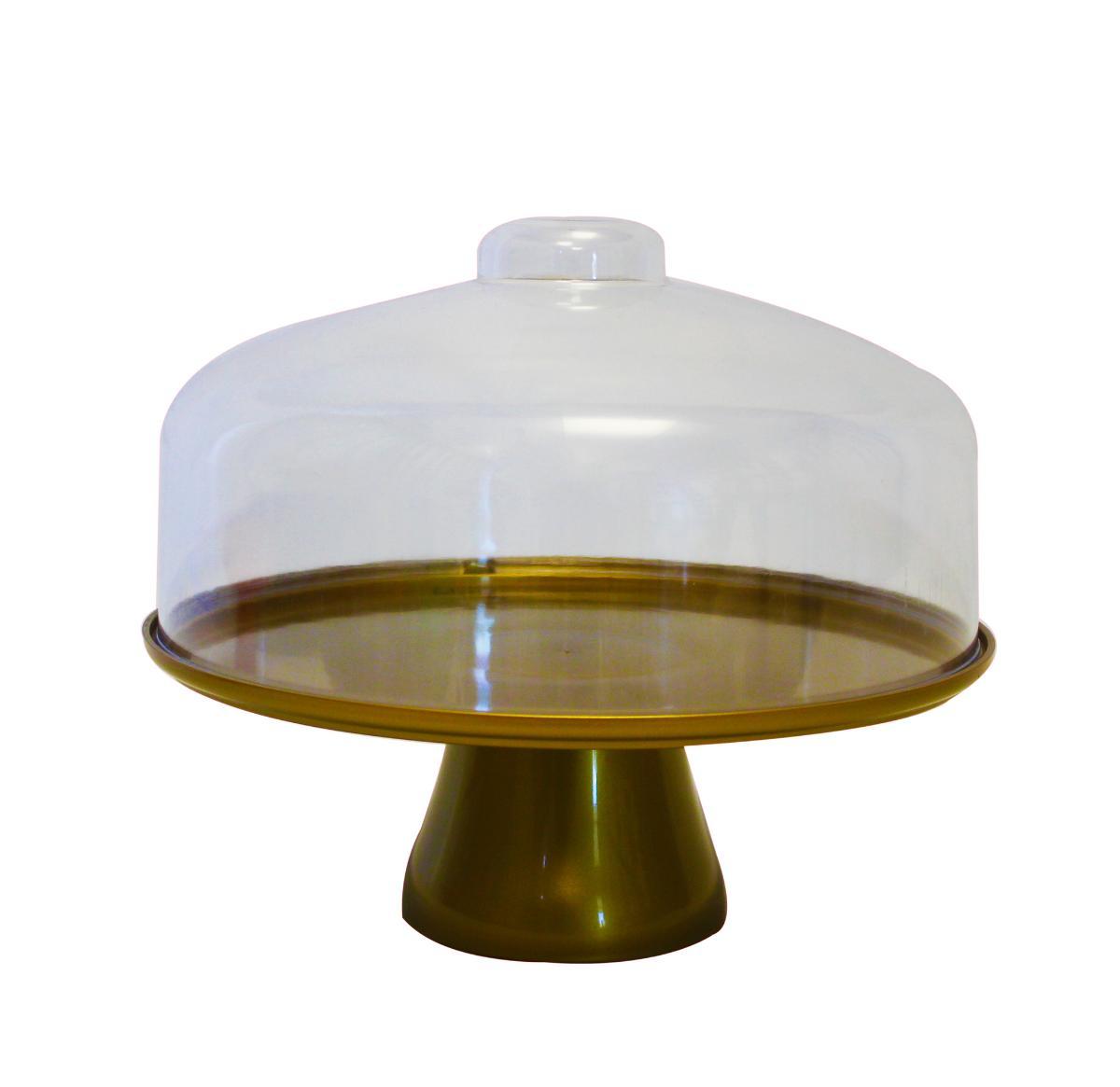 Boleira Cake Com Cúpula 25 cm Dourado Coza