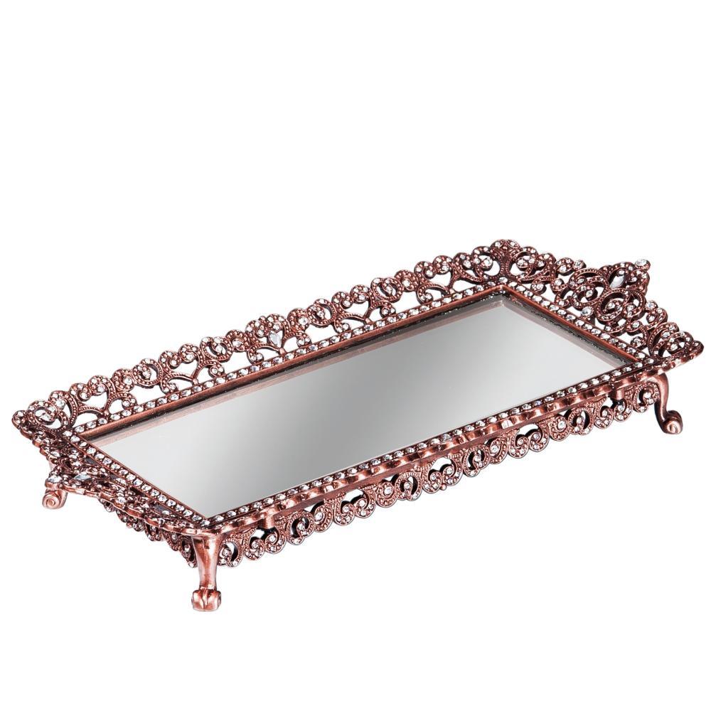 Bandeja em Metal com Espelho Cobre