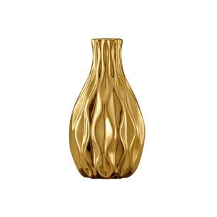 Vaso Em Ceramica Na Cor Dourada   6x11