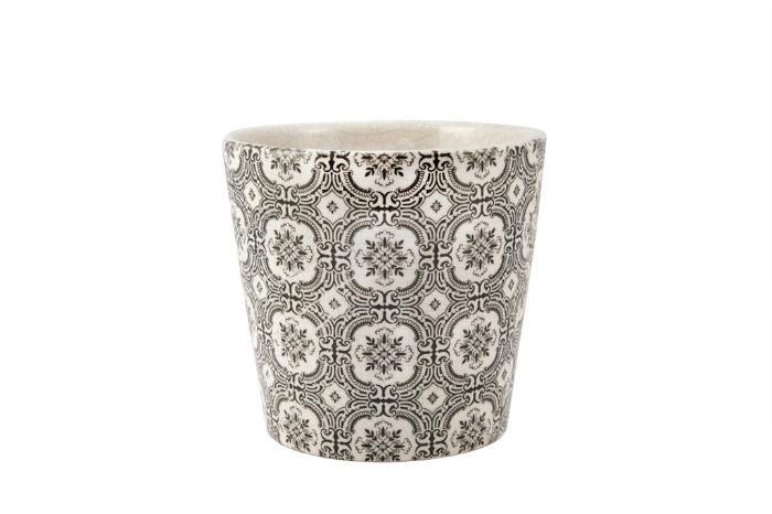 Cachepot Para Decoração Ceramica Branco E Preto