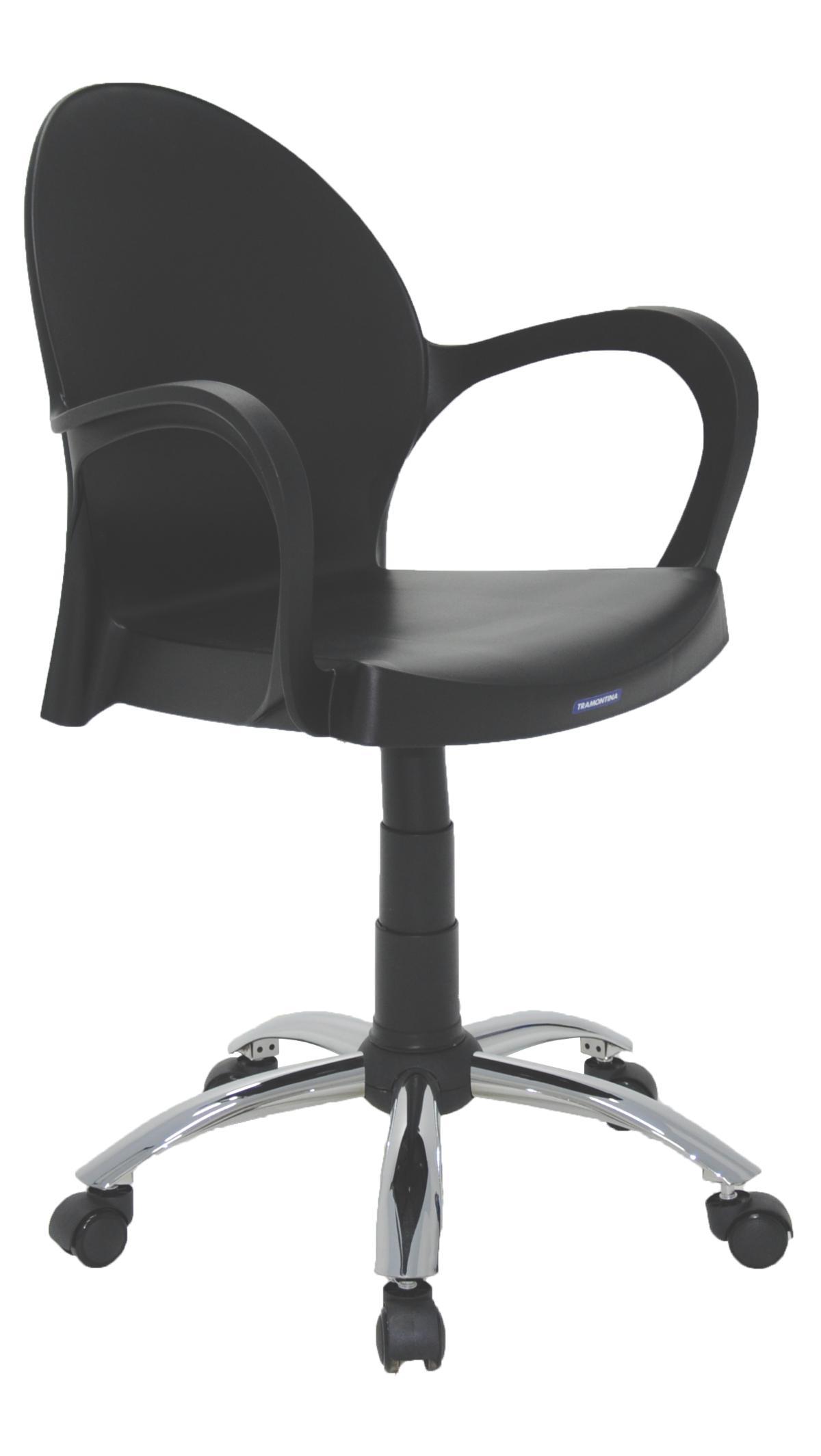 Cadeira Com Braços E Rodizio Grace Preta