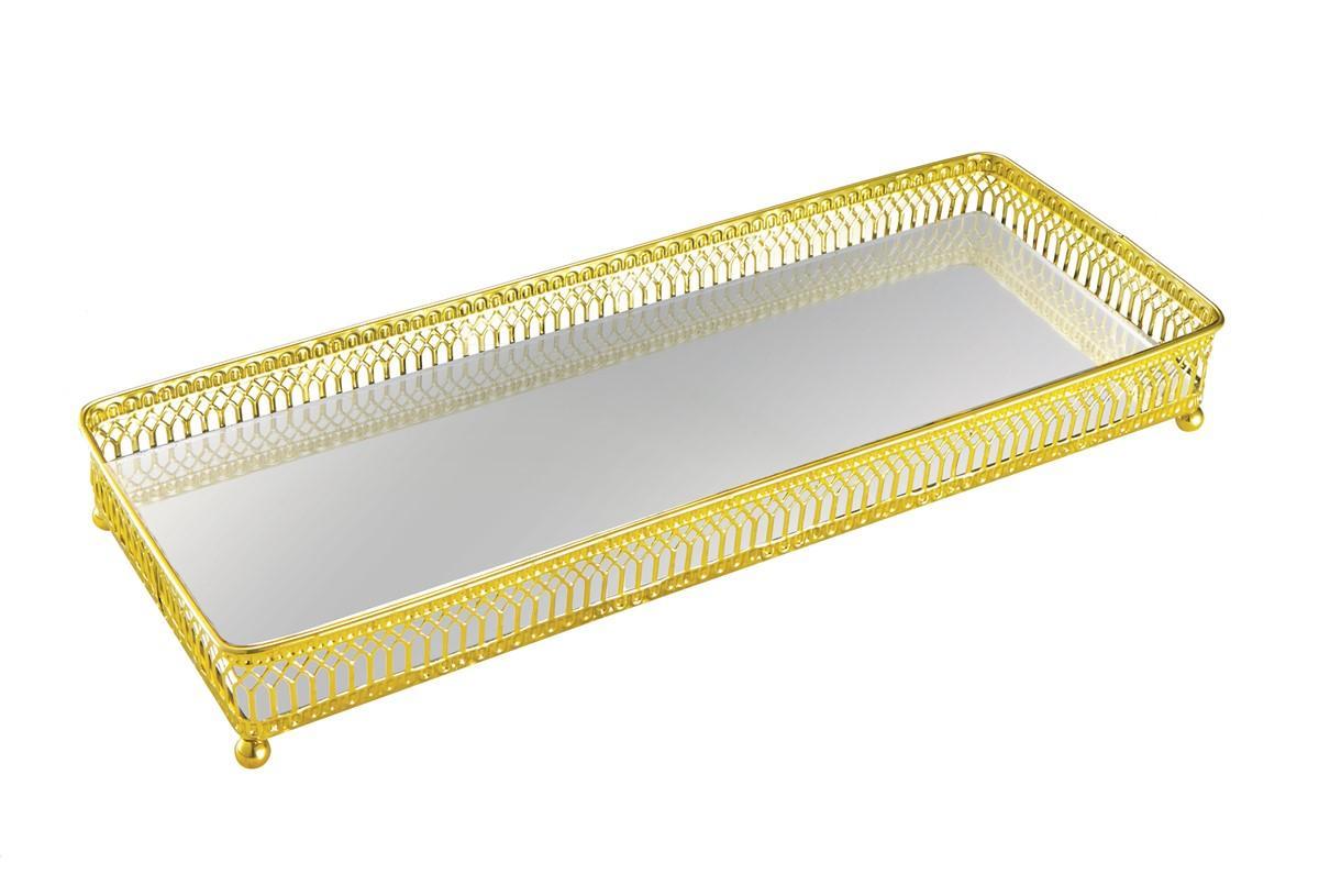 Bandeja em Metal Dourada com Espelho