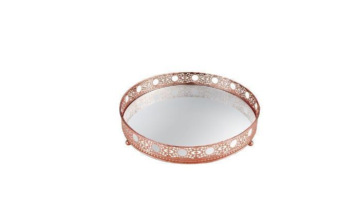 Bandeja Decorativa Em Metal Com Espelho Cobre