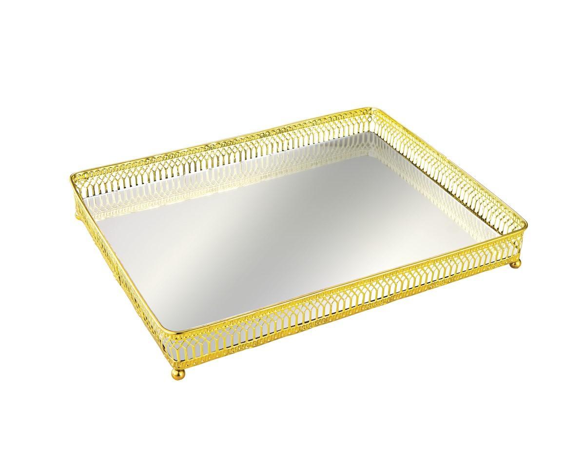 Bandeja em Metal com Espelho Dourada