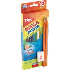 Lápis de Cor Tris Mega Ponta com caixa 12 cores 2 Lápis Preto Apontador e Borracha (Cód. 121629147)