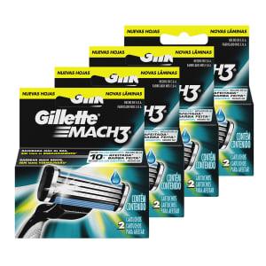 CLIQUE ➤➤ Kit com 4 Cargas Gillette Mach 3 com 8 unidades   oferta com preço barato em Promoção no site de loja