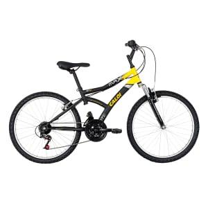 CLIQUE ➤➤ Bicicleta Caloi Aro 24 – 21 Marchas Max Front Juvenil Preta e Amarela   oferta com preço barato em Promoção no site de loja