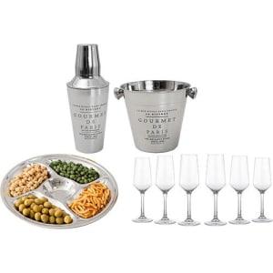 CLIQUE ➤➤ Conjunto De Taças para Champagne 170 Ml 6 Peças + Petisqueira 34,5cm + Conjunto de bar Gourmet: Balde para gelo 14cm e Coqueteleira 500ml   oferta com preço barato em Promoção no site de loja