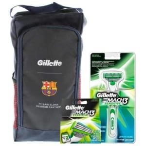 CLIQUE ➤➤ Aparelho Gillette Mach3 Sensitive + 2 Cargas e GANHE Porta Chuteira Exclusiva Barcelona   oferta com preço barato em Promoção no site de loja