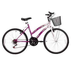 CLIQUE ➤➤ Bicicleta Track Bikes Aro 24 – 18 Marchas Parati Juvenil Rosa e Branca   oferta com preço barato em Promoção no site de loja