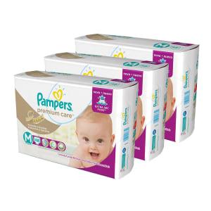 Oferta ➤ Kit de Fraldas Pampers Mega Premium Care – P, M, G, XG e XXG   . Veja essa promoção
