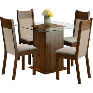 Saiba mais ➤ Conjunto de Mesa de Jantar Isis Rustic com 4 Cadeiras Isis Rustic/Crema Suede Pérola