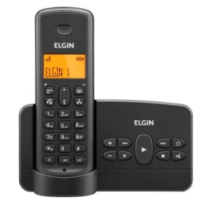 Telefone Sem Fio Elgin TSF800SE Preto - Secretária Eletrônica Digital, Alarme, Gravador de Lembretes, Agenda 50 Contatos, Acesso Remoto, Viva Voz