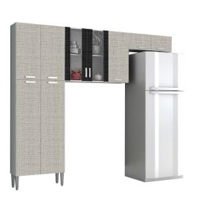 Saiba mais ➤ Cozinha Compacta Kits Paraná 9 Portas Alfa Top em MDP Branco, Linho Cinza e Linho Preto