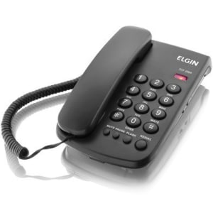 Telefone Elgin de Mesa com fio, Bloqueador, Preto - TCF-2000