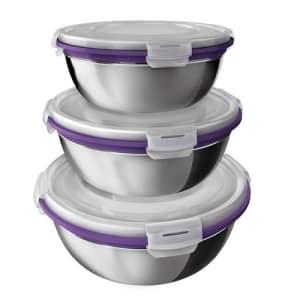 Oferta ➤ Conjunto de Potes Euro Home Herméticos em Inox com Tampa Plástica Roxo – 3 Peças   . Veja essa promoção