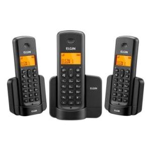 Telefone Elgin TSF8003 Preto sem fio + 2 Ramais, identificador, Viva Voz, Agenda, 5 opções de campaínha display iluminado e agenda compartilhada.