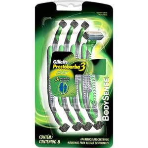 CLIQUE ➤➤ Aparelho Gillette Descartável Prestobarba3 Bodysense – 8 Unidades!   oferta com preço barato em Promoção no site de loja