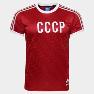 74cb96c01d027 Camisa União Soviética Retrô Home 1982 Adidas Masculina (P)