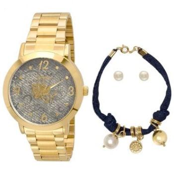 2f1d74b8643 Kit Relógio Feminino Condor Analógico Dourado + Pulseira com Berloques +  Par e Brincos - CO2039AA K4C