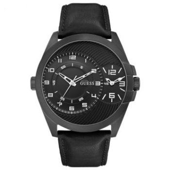 Relógio Masculino Analógico Guess, Dual Time, Pulseira de Couro Preta, Caixa de 5,3 cm - 92570GPGTPC2