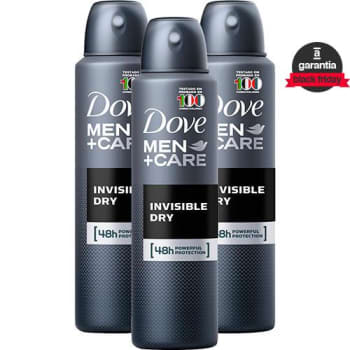 Kit 3 Desodorante Antitranspirante Aerosol Dove Men+care Invisible Dry 89g