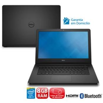 "Notebook Dell Inspiron I14-5458-D37P com Intel® Core™ i5-5200U, 8GB, 1TB, Leitor de Cartões, HDMI, Wireless, Bluetooth, Webcam, LED 14"" e Linux"