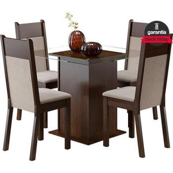 Conjunto de Mesa de Jantar Isis Tabaco com 4 Cadeiras Isis Tabaco/Suede Pérola - Madesa
