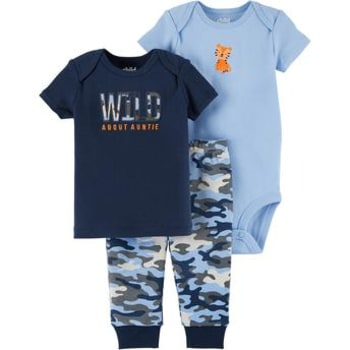 Conjunto com Body Curto, Camiseta e Calça Tiger Azul Child of Mine made by Carter's