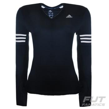 Camiseta Adidas Response Feminina Manga Longa Preta (M) em Promoção ... 17f2bd547388e