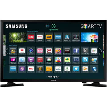 "Smart TV LED 43"" Samsung UN43J5200AGXZD Full HD Conversor Digital 2 HDMI 1 USB Screen Mirroring e Connect Share Movie 60Hz - Preto"