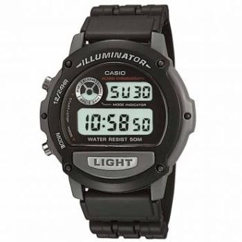 Relógio Masculino Casio, Digital, Caixa 4,4 cm, Pulseira em Resina, Resistente a Água 50 metros - W-87H-1VHDR