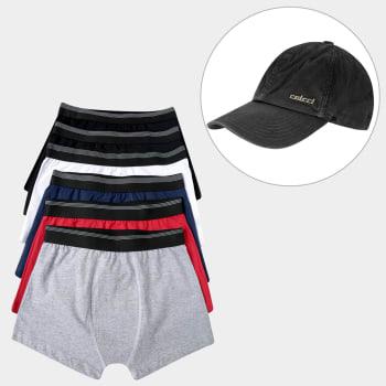 e76a33ee6f5 Kit Dia dos Namorados Cueca Boxer UNW Elástico Listras 6 Peças + Boné  Colcci Logo Básico Níquel