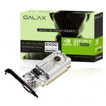 Placa de Vídeo Galax GeForce GT 1030 2GB EXOC White 30NPH4HVQ5EW